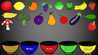 Fruits and Vegetables Colors, Color Sorting For Kids, Educational Video Kindergarten Preschool Game