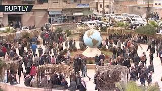 مظاهرات تأييد لبشار الأسد وسط عفرين