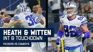 Rodgers INT Leads to Prescott Tossing TD to Witten | Packers vs. Cowboys | NFL Divisional Highlights