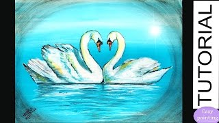 How to paint LOVE SWANS. Romantic Heart shape Painting Tutorial Step by Step SWAN