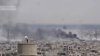 لحظة سقوط صواريخ الفيل على بساتين برزة 15-03-2017