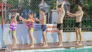 Kids go to Swimming Pool Competition Move Water   Kids Playing With Slide, Swing Playground