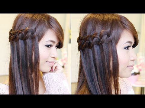 Knotted Loop Waterfall Braid Hairstyle Hair Tutorial