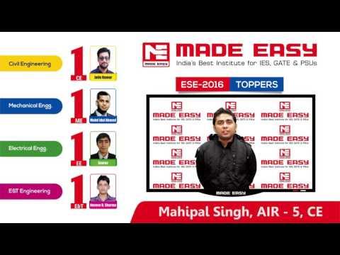 Mahipal Singh ESE 2016  CE AIR-5 MADE EASY Student