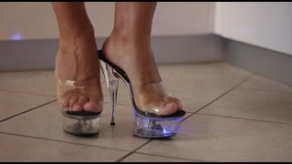 Back from Shopping with my Clear Light-Up Platform Heels