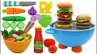 Toy Barbecue Hamburger Playset Learn Fruits & Vegetables with Velcro Toys for Kids