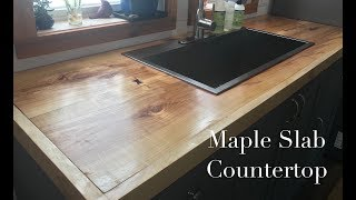 Making Kitchen Cabinets Part 6 -  Bookmatched Maple Slab Countertop
