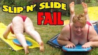 BBW Mom Slip n' Slide: FAIL