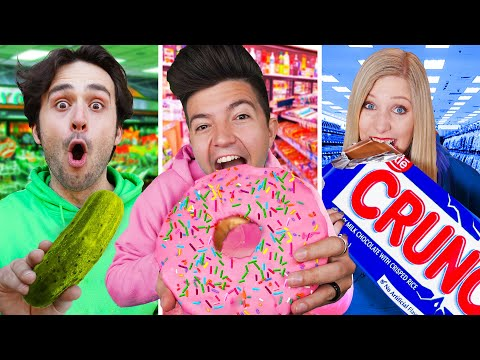 Eating ONE COLOR Gas Station Food for 24 Hours