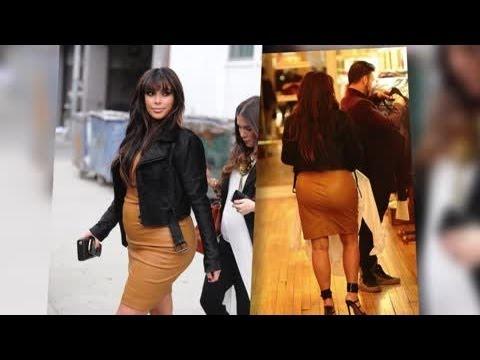 Kim Kardashian Flashes Her Spanx in a Super Tight Leather Dress Splash News