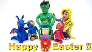 Coloring PlayDoh Easter Surprise Egg Superhero Animation Fun Cartoons For Kids