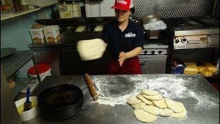 Freshly made Arabic Bread Fatayer Pizza, Falafel, Hummus & Pickles Mezze at Bianco Express, Bradford
