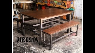 Steel/Pine Table & Benches