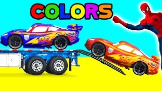 Spiderman McQueen Color Cars - Funny Superhero Cartoon for Kids Learn Colors & Nursery Rhymes