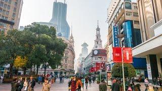 Nanjing Road, a popular tourist street in Shanghai, China