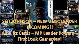 SGT JOHNSON! NEW LEADER! All Blitz Cards - MP Leader Powers - First Gameplay! (Halo Wars 2)