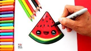 Aprende a dibujar y pintar una SANDÍA KAWAII | How to draw a Cute Watermelon easy