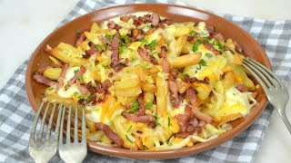 Patatas estilo Foster`s Hollywood o bacon cheese fries. Deliciosas y muy fáciles de preparar.