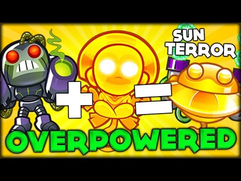NEW GLITCH COMBINING SUN GOD ROBO MONKEY SUN TERROR OVERPOWERED BTD 5 Bloons Tower Defense 5