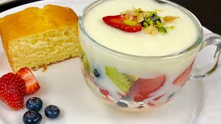 Firni With Cake And Fruits Trifle  ، فرنی کیک دار ومیوه دار Firni Afghani