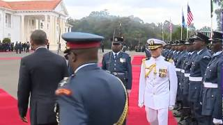 PRESIDENT OBAMA VISITS STATE HOUSE KENYA, INSPECTS GUARD OF HONOUR AND RECEIVES A 21-GUN SALUTE