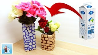 How to Make Flower Vase from Milk Container Easy Art and Craft Ideas