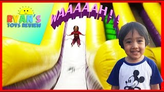 HUGE Indoor playground GIANT INFLATABLE SLIDES and Bounce House for kids play center Ryan ToysReview