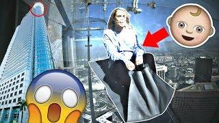 PREGNANT MUM ON 1000 FT GLASS SLiDE iN SKY! 😱🤰 **terrifying**