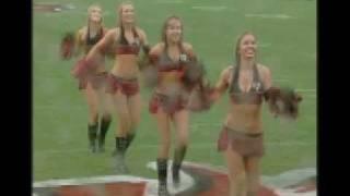 Buc Cheerleaders Dancing in the rain