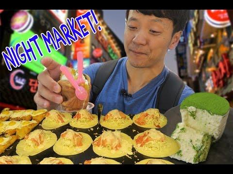 Korean NIGHT MARKET Food Tour in Seoul South Korea