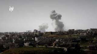 الطيران المروحي يلقي بعدد من البراميل المتفجرة على احياء درعا البلد 4-12-2017
