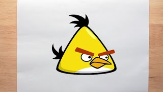 How to draw Yellow Bird   Angry Birds Serie   For Beginners