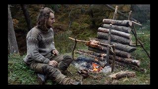 6 days solo bushcraft - canvas lavvu, bow drill, spoon carving, Finnish axe