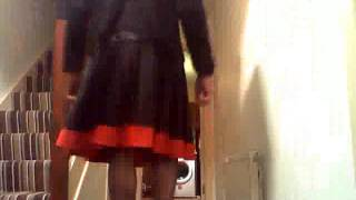 Satin Tranny in seamed stockings