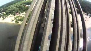 Ukrainian teens climb bridge