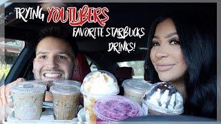 TRYING YOUTUBERS FAVORITE STARBUCKS DRINKS