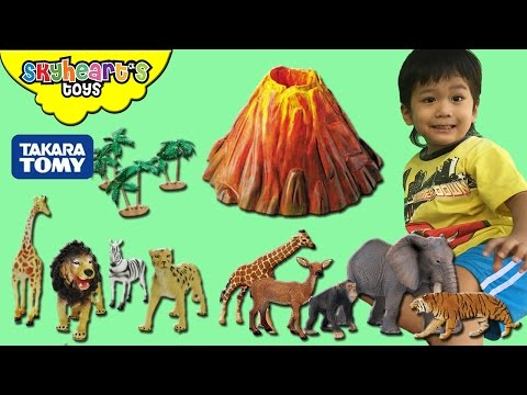 FUN VOLCANO EXPERIMENT with safari toys and Takara Tomy animals Lion Tiger Dinosaurs Gorilla