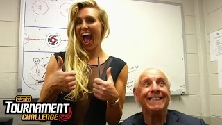 Charlotte and WWE Hall of Famer Ric Flair fill out their bracket for March Madness with ESPN's T..