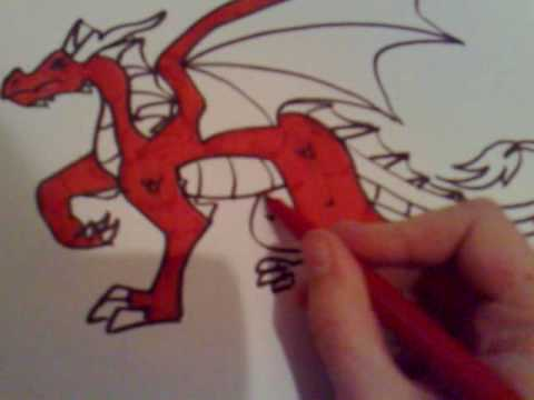 Drawing a Cartoon Red Dragon