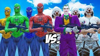 SPIDER-MAN, GREEN SPIDERMAN, BLUE SPIDERMAN, YELLOW SPIDERMAN VS JOKER & JOKER THUGS