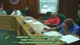 SEBRING VILLAGE COUNCIL MEETING ON JULY 24, 2017