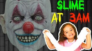 DO NOT MAKE FLUFFY SLIME AT 3AM!! OMG SO SCARY - KILLER CLOWN SCARY CHALLENGE