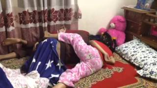 Little sister wanna hug her Elder sister when she in deep sleep. Prerana and Trishna.