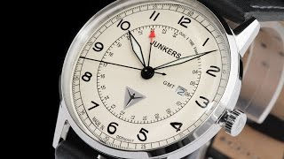 Junkers 6946-5 G38 II 42mm German Made Leather Strap Watch w Swiss GMT Movement