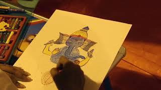 Tu dhup hai... Drawing competition Taare zameen par, ganesh festival 2017,