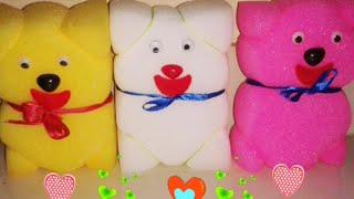 How to make a sponge teddy bear , simple sponge doll ;craft for kids
