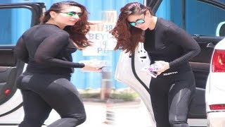 Kareena Kapoor Hot Tight Black Leggings Pants Spotted Gym