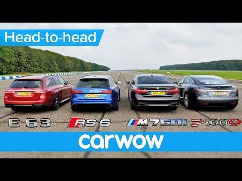 BMW M760Li v Tesla Model S v Audi RS 6 v Mercedes AMG E63 S Estate DRAG & ROLLING RACE
