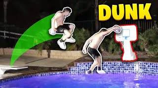 EPIC POOL MINI BASKETBALL DUNK CONTEST! **CRAZY**