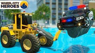 Police Car Stuck in Puddle   Excavator Pulling Police Car   Wheel City Heroes Cartoon